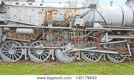 One Old historical Estonian train. Metal locomotive.