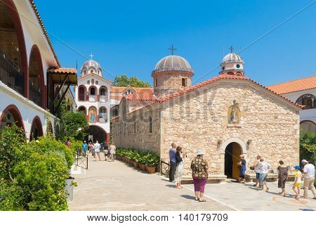 Evia, Greece 25 July 201. People from all over the world visiting the famous monastery of Saint David at Evia.