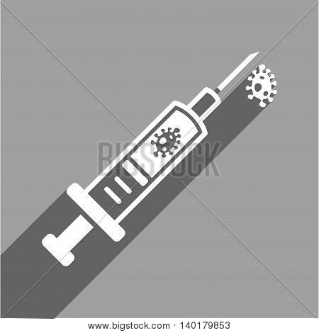 Infection Injection long shadow vector icon. Style is a flat infection injection white iconic symbol on a gray square background.