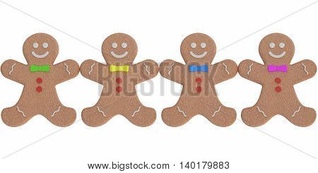 Gingerbread man cookies. 3D rendering isolated on white background
