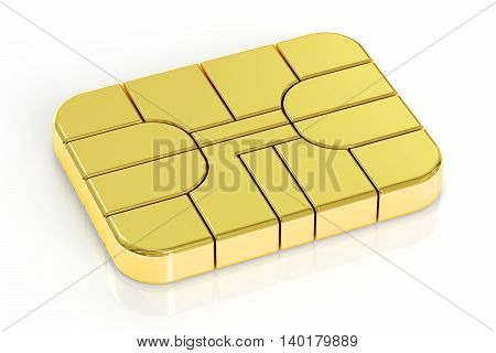 golden card chip 3D rendering isolated on white background