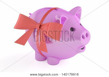 Piggy bank with red ribbon and bow 3D rendering isolated on white background