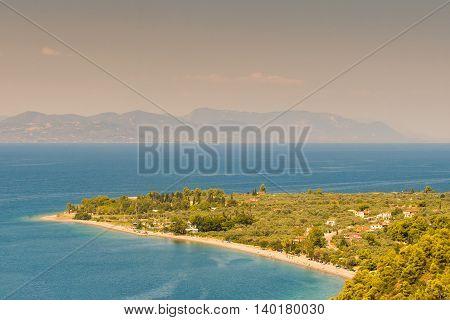 Kochili beach (Spiada) at north Evia. Landscape view.