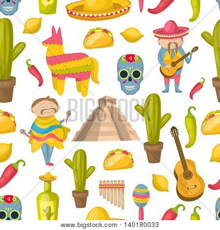 Mexican seamless background pattern with elements of traditions and attractions of the country vector illustration
