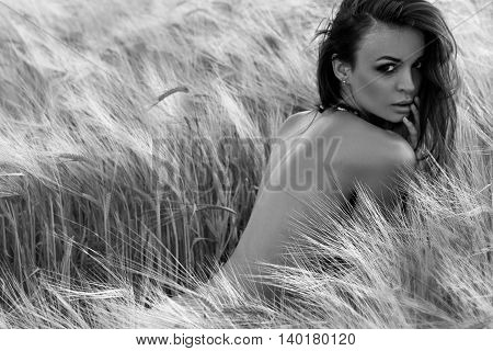 Beautiful brunet girl posing in a Wheat field at sunset. Black and white