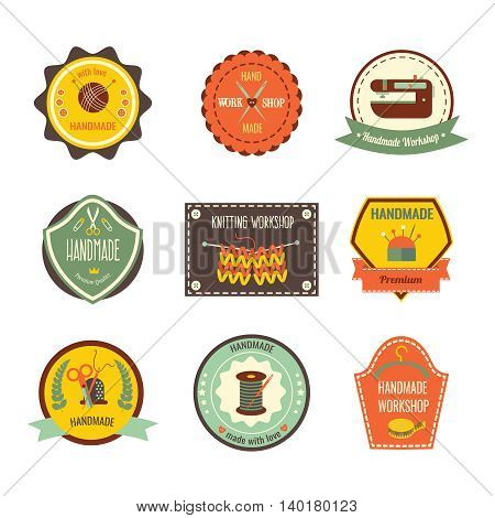 Handmade workshop retro slyle labels with cushion for needles scissors threads clew sewing machine isolated vector illustration