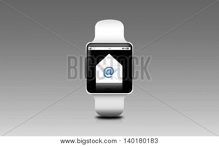 modern technology and communication concept - illustration of smart watch with e-mail letter icon on screen over gray background