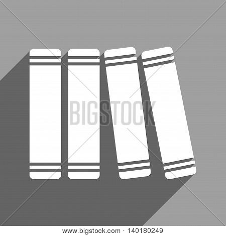 Library Books long shadow vector icon. Style is a flat library books white iconic symbol on a gray square background.