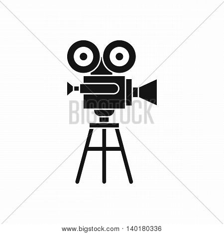 Retro film projector icon in simple style isolated on white background. Video symbol