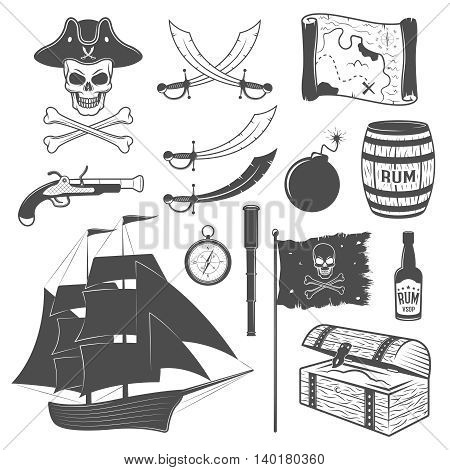 Pirates monochrome elements set with sailboat weapon flag telescope map rum chest cannon ball isolated vector illustration