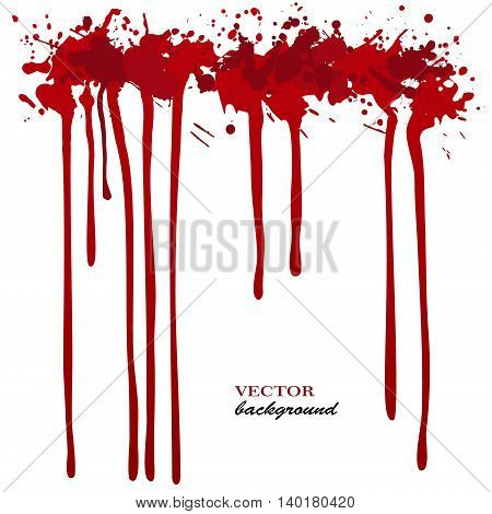 Vector red Ink stain, blots and splashes. Isolated paint drops, design elements.Red paint