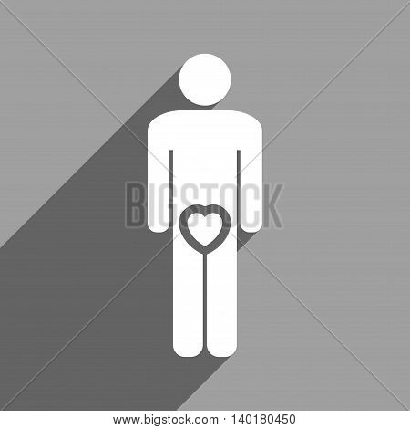Male Love long shadow vector icon. Style is a flat male love white iconic symbol on a gray square background.