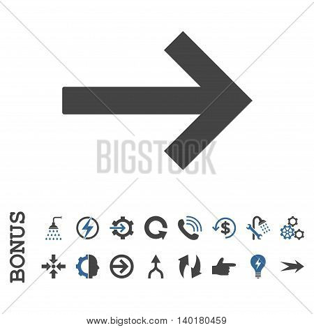 Right Arrow vector bicolor icon. Image style is a flat pictogram symbol, cobalt and gray colors, white background.
