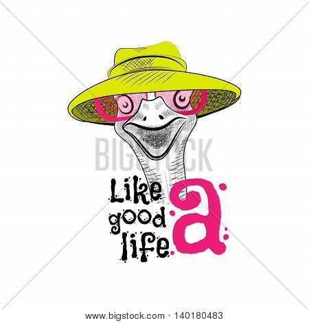 Funny ostrich in the pink sunglasses. Lettering creative phrase youth style. Doodle drawing brush is hand-painted on white background. Keep calm.