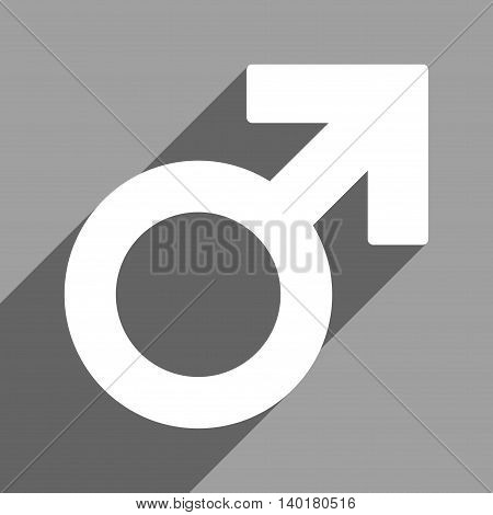 Male Symbol long shadow vector icon. Style is a flat male symbol white iconic symbol on a gray square background.