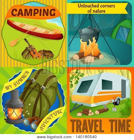 Summer camping compositions with boat on river shore virginal nature tourist equipment travel time isolated vector illustration