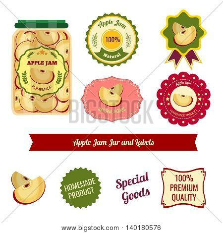 Apple jam jar and labels for homemade natural products of premium quality with stars isolated vector illustration