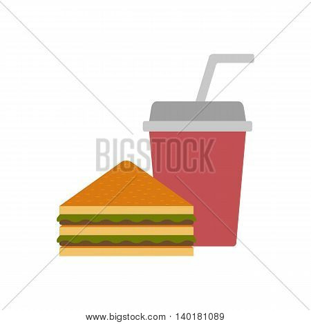 Vector american food or meals concept. Fast food cafe or restaurant. Flat objects: sandwich and soda. Junk unhealthy food. Obesity concept for flat infographics. American cuisine vector background