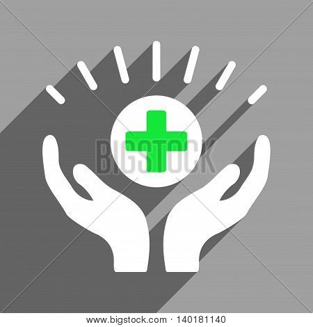 Medical Prosperity long shadow vector icon. Style is a flat medical prosperity white iconic symbol on a gray square background.