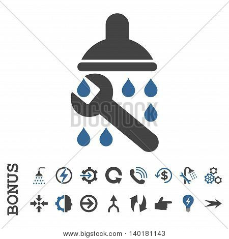 Shower Plumbing vector bicolor icon. Image style is a flat iconic symbol, cobalt and gray colors, white background.
