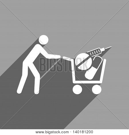 Medical Shopping Cart long shadow vector icon. Style is a flat medical shopping cart white iconic symbol on a gray square background.