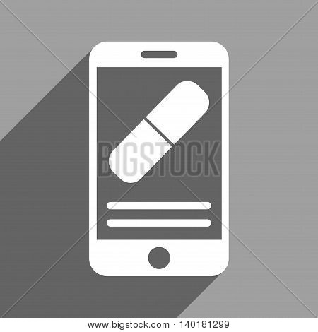 Medication Mobile Information long shadow vector icon. Style is a flat medication mobile information white iconic symbol on a gray square background.