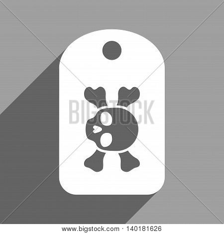 Morgue Mark long shadow vector icon. Style is a flat morgue mark white iconic symbol on a gray square background.