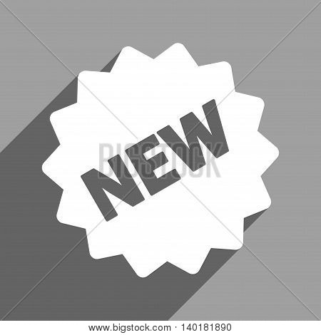 New Tag long shadow vector icon. Style is a flat new tag white iconic symbol on a gray square background.