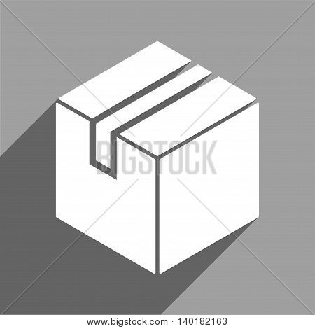 Package long shadow vector icon. Style is a flat package white iconic symbol on a gray square background.
