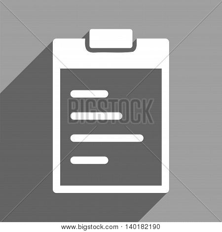 Pad Text long shadow vector icon. Style is a flat pad text white iconic symbol on a gray square background.