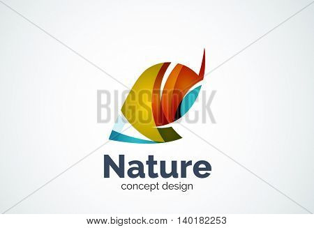Abstract business company leaf logo template, green concept - geometric minimal style, created with overlapping curve elements and waves. Corporate identity emblem.