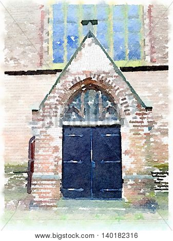 Digital watercolor painting of a church door entrance in the Netherlands.