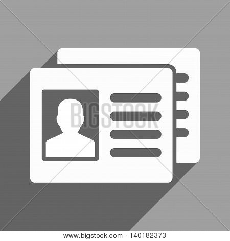Patient Accounts long shadow vector icon. Style is a flat patient accounts white iconic symbol on a gray square background.