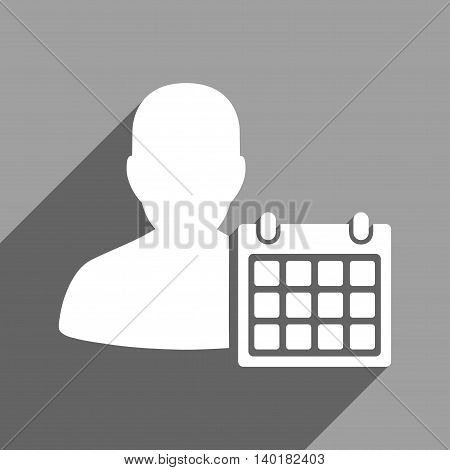 Patient Calendar long shadow vector icon. Style is a flat patient calendar white iconic symbol on a gray square background.