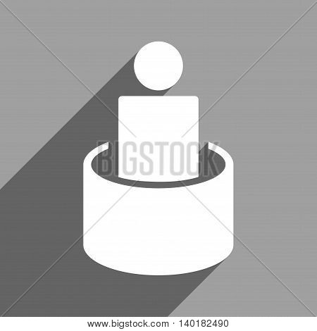 Patient Isolation long shadow vector icon. Style is a flat patient isolation white iconic symbol on a gray square background.