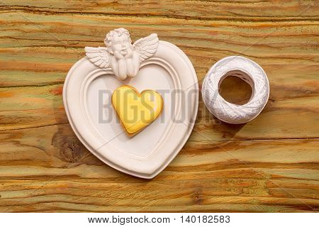 Heart shaped photo frame with decorative elements