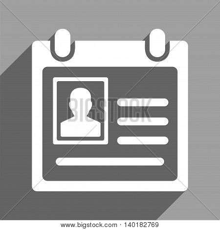 Personal Badge long shadow vector icon. Style is a flat personal badge white iconic symbol on a gray square background.
