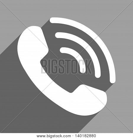 Phone Call long shadow vector icon. Style is a flat phone call white iconic symbol on a gray square background.