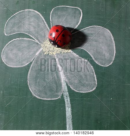 Beautiful Ladybug On Drawing Flower