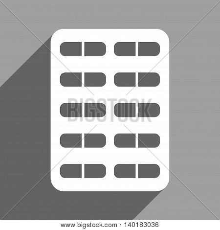 Pill Blister long shadow vector icon. Style is a flat pill blister white iconic symbol on a gray square background.