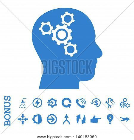 Brain Mechanics vector icon. Image style is a flat iconic symbol, cobalt color, white background.