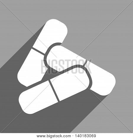 Pills long shadow vector icon. Style is a flat pills white iconic symbol on a gray square background.