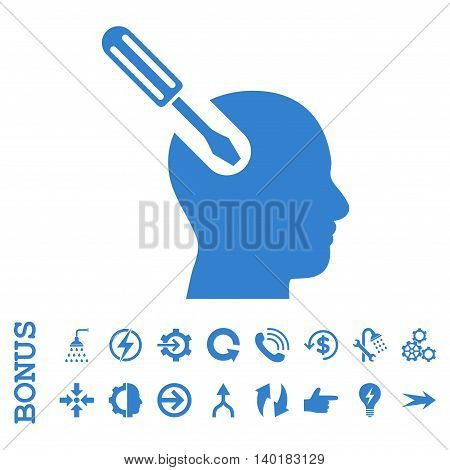 Brain Tool vector icon. Image style is a flat iconic symbol, cobalt color, white background.