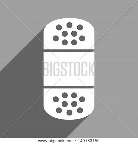 Plaster long shadow vector icon. Style is a flat plaster white iconic symbol on a gray square background.