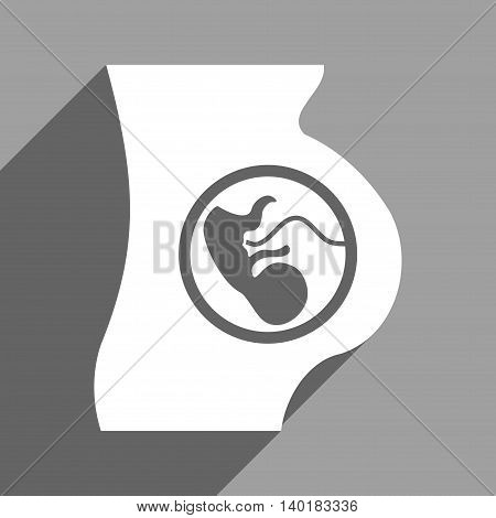 Pregnancy Anatomy long shadow vector icon. Style is a flat pregnancy anatomy white iconic symbol on a gray square background.