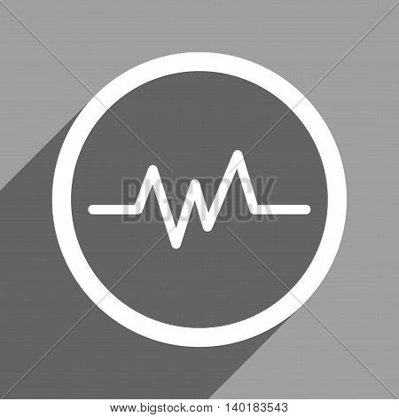 Pulse Monitoring long shadow vector icon. Style is a flat pulse monitoring white iconic symbol on a gray square background.
