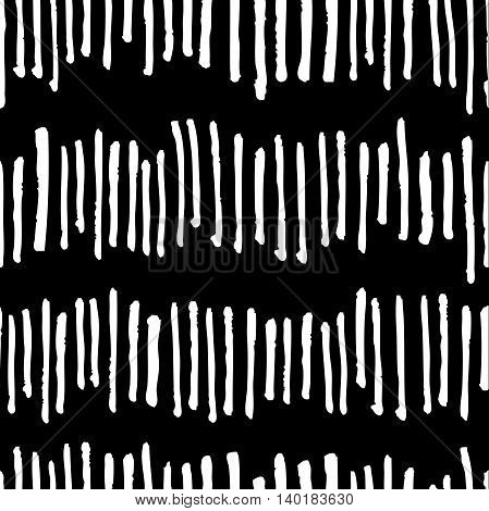 Vector seamless trendy modern brush stokes pattern. Messy ink dry brush line background. Black and white artistic pattern. Great for print wrapping paper wallpaper
