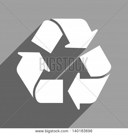 Recycle long shadow vector icon. Style is a flat recycle white iconic symbol on a gray square background.