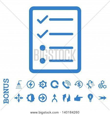 Checklist Page vector icon. Image style is a flat iconic symbol, cobalt color, white background.