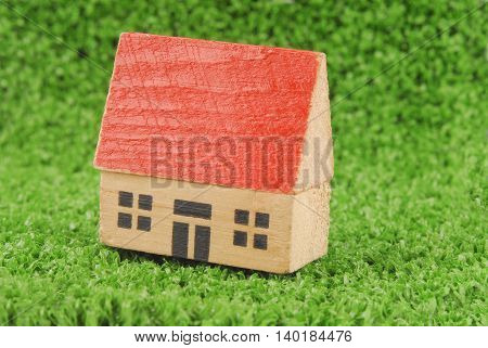 closeup of the miniature house on green grass concept